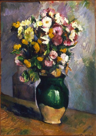 Cezanne, Paul: Still Life with Flowers in an Olive Jar. Fine Art Print/Poster. Sizes: A4/A3/A2/A1 (004243)